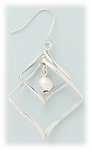 pierced earring silver French hook twirly squares and beads