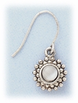 pierced earring silver French hook white mother of pearl flower