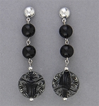 pierced earring Silver Half Ball black round beads clear black dimpled