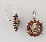 Earring Silver Lever back antique flower topaz and brown stones