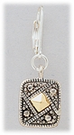 Earring Silver Lever Back Antique Silver Square Gold Diamond Accent