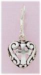 Pierced Earring Silver Lever back heart with cross drop