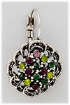 Pierced Earring Silver Lever back with greens and purples stones