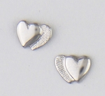 pierced Earring silver posted double hearts