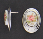 pierced earring silver posted smooth oval pink flower