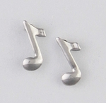pierced earring silver posted tiny music note