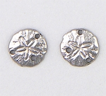 pierced earring silver stainless steel posted small sand dollar