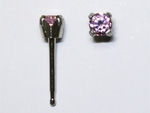 pierced earring stainless 3mm pink cubic zirconia tiffany