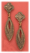 Pierced earrings antique gold French hook open antiqued marquee drop