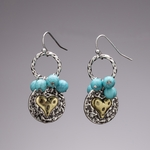 pierced earrings antiqued silver French hook 2tone heart circle drop turquoise beads
