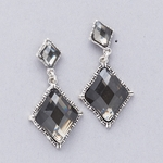 pierced earrings antiqued silver posted double diamond black crystal drops