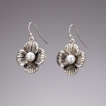 pierced earrings antiques silver French hook flower with pearl center