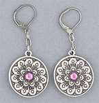 pierced earrings black euro clasp antique silver double side flower pink crystal