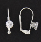 Pierced earrings euro clasp lever back Cubic Zirconia prong set 5mm