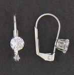 Pierced earrings euro clasp lever back Cubic Zirconia Tiffany 5mm
