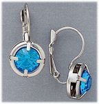 pierced earrings euro clasp lever back silver light blue crystal drop