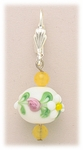 Earrings Lever Back Yellow Pink Flower Bead Yellow Jade Accents
