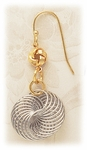 Pierced earrings French hook two tone gold and silver wire swirl drop