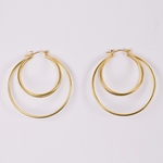 Pierced earrings gold double wire 42mm joint and catch hoop