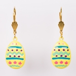 pierced earrings Gold Easter Egg painted euro clasp