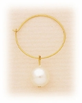 Pierced Earrings Gold hoops with Pearls