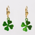 pierced earrings gold euro clasp green solid 4 leaf clover