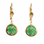Pierced earrings gold euro clasp lever back circle with clover