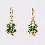 pierced earrings gold French hook antique and green tiny 4 leaf clover