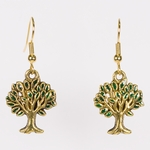 pierced earrings gold French hook antique and green tree