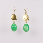 pierced earrings gold French hook antique clover and swirl green beads