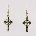 pierced earrings gold French hook antique gold and green Celtic cross