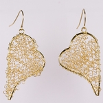 Pierced earrings gold French hook wire mesh over wire heart