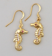 Pierced earrings gold French hook with cubic Zirconia inlayed Seahorse