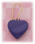 Pierced earrings Gold Heart purple on kidney wire