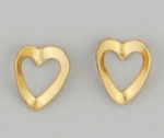 Pierced earrings Gold Heart small folded open