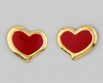 Pierced earrings Gold Heart small red