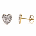 Pierced earrings gold plated stainless 8mm x 8mm April pave heart