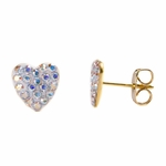 Pierced earrings gold plated stainless 8mm x 8mm Aurora Borealis pave heart