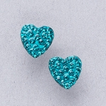 Pierced earrings gold plated stainless 8mm x 8mm December pave heart