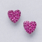 Pierced earrings gold plated stainless 8mm x 8mm fuchsia pave heart