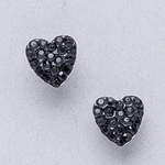Pierced earrings gold plated stainless 8mm x 8mm jet pave heart