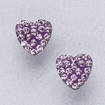 Pierced earrings gold plated stainless 8mm x 8mm June pave heart