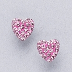 Pierced earrings gold plated stainless 8mm x 8mm light rose pave heart