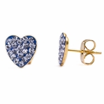 Pierced earrings gold plated stainless 8mm x 8mm light Sapphire pave heart