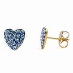 Pierced earrings gold plated stainless 8mm x 8mm March pave heart