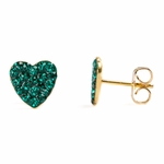Pierced earrings gold plated stainless 8mm x 8mm May pave heart