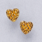 Pierced earrings gold plated stainless 8mm x 8mm November pave heart