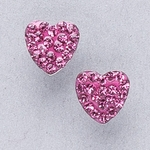 Pierced earrings gold plated stainless 8mm x 8mm October pave heart