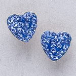 Pierced earrings gold plated stainless 8mm x 8mm September pave heart