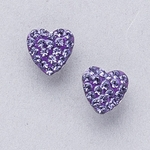 Pierced earrings gold plated stainless 8mm x 8mm Tanzanite pave heart